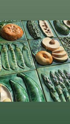 Ceramic Techniques, Pottery Techniques, Ceramic Boxes, Feature Tiles, Food Bank, Handmade Ceramic, Tile Art, Kitchen Tiles, Fruits And Vegetables
