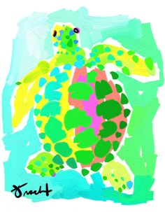 Art Print 11x14 Pink and Green Sea Turtle by Kelly Tracht, Lilly Pulitzer Style Painting Palm Beach Regency on Etsy, $55.00