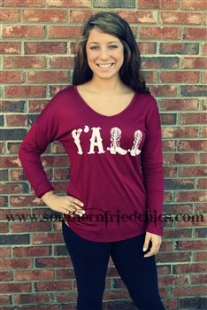 Y'all Top- Burgundy $36.99! #SouthernFriedChics