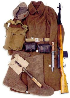 "Private, Red Army, standard kit 1939-41:  01 - Model 1940 ""ushanka"" cap  02 - Model 1935 coat, with service branch insignia on the collar tabs  03 - felt boots  04 - main belt  05 - 7,62 mm Tokarev SVT-40 rifle  06 - bayonet  07 - ammo pouches  08 - bag for the gas mask  09 - folding shovel"