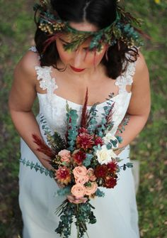 Peach and Burgundy Boho Wedding Bouquet | The Mimi Fran Wedding Flower Collection by PickaBloomFlowers on Etsy https://www.etsy.com/listing/511123834/peach-and-burgundy-boho-wedding-bouquet