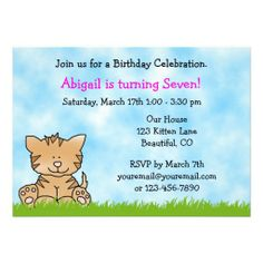 Kitty Cat Birthday Invitation for Girls