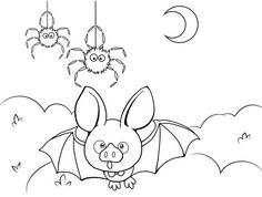 In funny realistic and cartoon of bat coloring pages, kids ages 4 and up will enjoy hours of happy entertainment while reinforcing their knowledge of Bat Coloring Pages, Coloring Pages For Kids, Spider Cartoon, Cute Bat, Funny, Top, Animals, Children Coloring Pages, Animales