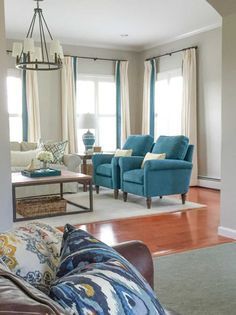 Those same very orange floors that I have. Lovely - and love the drapes with teal trim. Styling, Waxing and Country Living in New York State: Before & After Curtain Panels, Panel Curtains, Foyer Ideas, Decor Ideas, Family Rooms, Living Rooms, Living In New York, Country Living, Paint Colors