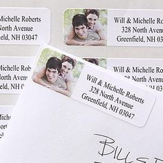 They're Return Address Labels that you personalize with your own photo! Great idea for Wedding Invitations, Thank You Notes, Save The Dates and more ... and very affordable! #Wedding #Invitations #Labels #PMall.com