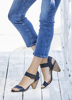 The bestselling sleek leather sandal with an angular block heel | Sole Society Missy