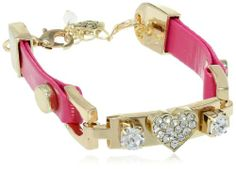 """Betsey Johnson """"Pink and Gold Boost"""" Pave Crystal Heart Faux Leather Bracelet,9"""""""