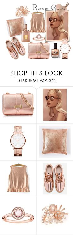 """""""rose gold"""" by tulipano89 on Polyvore featuring moda, Aspinal of London, Post-It, Linda Farrow, Marc by Marc Jacobs, West Elm, Thomas Sabo e Chanel"""