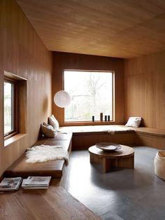 scandinavian retreat. wood and leather