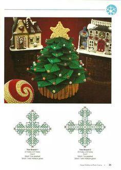 Christmas Tree 1/4 Plastic Canvas Ornaments, Plastic Canvas Tissue Boxes, Plastic Canvas Crafts, Plastic Canvas Patterns, Holiday Canvas, Plastic Canvas Christmas, Christmas Cross, Christmas Diy, Christmas Ornaments