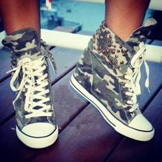 2f0059819b7a2 Soldier Camo Stud Hidden Wedge Sneaker  49.99... I m not big on shoes but I  like them a lot.  -)