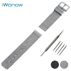 Stainless Steel Watch Band 20mm 22mm 24mm Universal Watchband Pin Buckle Strap Wrist Belt Bracelet Black Silver + Spring Bar #Affiliate