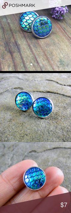 💋Blue Mermaid Scale Stud Earrings💋 Large (12mm) lead/nickel free posts with rubber backs. Jewelry Earrings