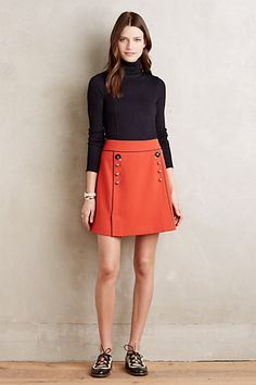 Love the color and style of this skirt. A red or orange skirt A-line or (even better) pencil is on my Want List. Regatta Skirt #anthropologie