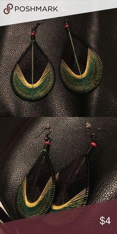 Jamaican style earrings Woven pear shaped earrings on French hooks Jewelry Earrings