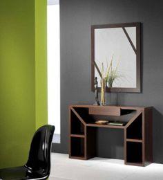 Meuble d'entrée contemporain KARTA, coloris wengé, avec miroir en option