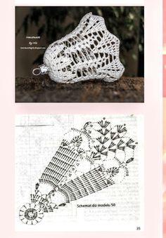 Christmas Crafts, Christmas Ornaments, Crochet Crafts, Crochet Patterns, Knitting, Design, Holiday Crochet, Bell Jars, Crochet Ornaments