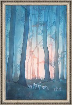 Dawn is in the twilight forest. Painting on silk by ElenaSilkva, $250.00