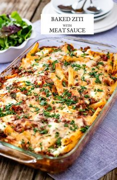 Recipe for Baked Ziti with Meat Sauce: Pasta layered with ricotta cheese and meat sauce baked in the oven with cheese on top. Dinner taken to next level. #bakedziti #foolproofliving #pastadinners #pasta #dinner #weeknight #recipe