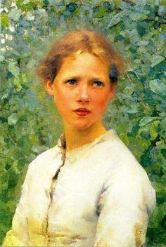 """""""Uma Cabeça de Rapariga"""" - Pintura de George Clausen"""