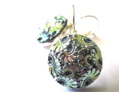 Antique glass button earrings, absolutely iridescent!