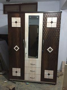 Wardrobe Door Designs, Wardrobe Design Bedroom, Bedroom Bed Design, Bedroom Furniture Design, Bed Furniture, Bed Back Design, Three Door Wardrobe, Almirah Designs, Modern Tv Wall Units