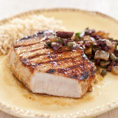 Easy Grilled Boneless Pork Chops Recipe - America's Test Kitchen - Brine, cut-in-to, ladle Anchovy sauce ingredients: to boneless pork chops, to 1 inch thick salt vegetable oil 1 honey anchovy paste pepper relish (optional) (see related content) Cooking Boneless Pork Chops, Boneless Pork Loin Chops, Fried Pork Chops, Pork Chop Recipes, Grilling Recipes, Fish Recipes, Chutney, Center Cut Pork Chops, Sauce Barbecue
