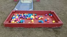 Fill both boxes with water, the horse walks in from the blue side then pivots and walk through the floating balls