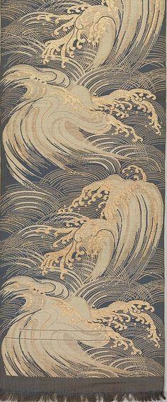 "nobrashfestivity: "" Unknown, Obi with Waves, Meiji period (1868–1912) Silk and metallic thread double cloth """