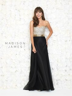 Style: 15-140 Madison James black prom dress with ivory bodice and gold belted waist prom dress 2015