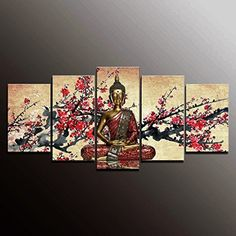 Wieco Art - Large Modern Giclee Canvas Prints Artwork 4 Panels Buddha Abstract Oil Paintings Reproduction on Canvas Wall Art Ready to Hang for Living Room Home Decorations Wall Decor