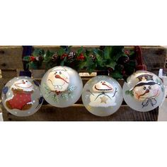 The Decorative Painting Store: 4 Snowmen Glass Ornaments DOWNLOAD, e-Patterns