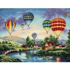 Borduurpakket  ballonvaart (Balloon glow)  van dimensions  gold collection 35213