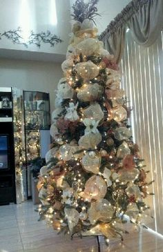 Gold Deco Mesh Christmas Tree