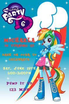 My Little Pony Equestria Girl Rainbow Dash Invitations