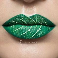 lippen schminken blatt grüne lippen andrea reed