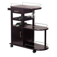 Bring the fun right to your guests with this handy rolling entertainment cart. It has plenty of storage which includes two racks to hold 6 wine bottles, a wine glass holder, open shelves lined with sleek metal rails and a shelf and drawer to keep your accessories. The chrome finished rails and handles compliment the cart to give a contemporary look to a cart that has great mobility with the 4 wheels and handle which doubles as a handle.