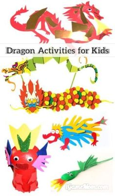 More than 30 dragon themed learning activities for kids of all ages: crafts, coloring pages, printable worksheets, games, … math, letters, spelling, science, …