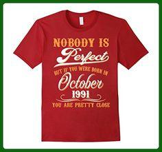Mens Nobody Is Perfect October 1991 T-shirt 26th Birthday Shirt Medium Cranberry - Birthday shirts (*Amazon Partner-Link)