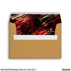 Red Gold #Christmas Tree Envelopes @artbyapril1