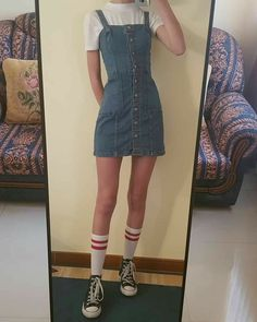 60 vintage outfits for teenage girls that looks great 12 Mode Outfits, Grunge Outfits, Casual Outfits, Summer Outfits, Casual Clothes, Yellow Outfits, Chill Outfits, 90s Fashion, Korean Fashion