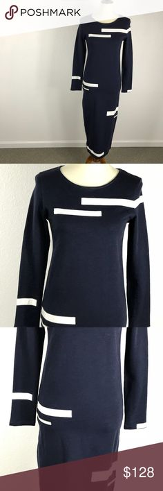 Band of Outsiders Navy Striped Knit Dress Band of Outsiders Knit Midi Dress   Exposed Side Zip Slit  Elastic Waist  Size M  Shoulder to Shoulder 15, Bust 32, Sleeve Length 24, Hips 34 and Length 49     *Missing Fabric Content and Care Tags* Band Of Outsiders Dresses
