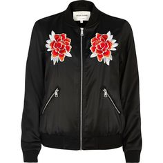 River Island Black satin floral bomber jacket found on Polyvore featuring outerwear, jackets, black, bomber jackets, coats / jackets, women, embroidered jacket, flight jacket, zip front jacket and tall jackets