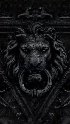 black lion door knocker / color inspiration / black and white / monochromatic / texture / pattern / nature / art / Lion Door Knocker, Door Knockers, Door Knobs, Door Handles, Wallpper Iphone, Apple Iphone, Lion Noir, Sculptures, Lion Sculpture