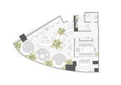 Image 15 of 20 from gallery of A Hidden Garden Behind the Concrete Walls / Muxin Design. Cafe Floor Plan, Office Floor Plan, Floor Plan Layout, Floor Plans, Restaurant Floor Plan, Restaurant Layout, Restaurant Design, Restaurant Restaurant, Garden Floor