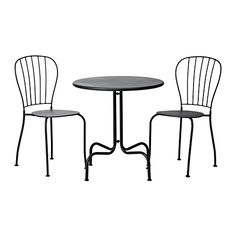 IKEA - LÄCKÖ, Table+2 chairs, outdoor, , You can have several chairs on hand without taking up more room, as they are stackable.The drain hole in the seat lets water drain out.The materials in this outdoor furniture require no maintenance.Easy to keep clean – just wipe with a damp cloth.