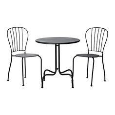 IKEA - LÄCKÖ, Tafel met 2 stoelen, grijs, , Eenvoudig schoon te houden - afnemen met een vochtig doekje.Door de opening in de zitting kan het regenwater weglopen.De materialen in dit tuinmeubel zijn onderhoudsvrij.