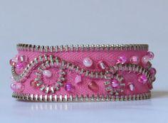 E-1624  Pink beaded upcycled zipper bracelet by WhiteSparrowGarden