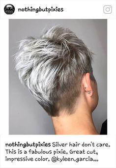 Best New Pixie Haircuts For Women Short hair, especially blonde color, have very different colors and shades. Again and again, new, exciting trends appear on the scene. No matter if any blonde hair color. Blonde Highlights Short Hair, Ash Blonde Short Hair, Short Grey Hair, Short Hair Cuts, Short Hair Styles, Blonde Color, Hair Color, Pixie Cuts, Blonde Shades