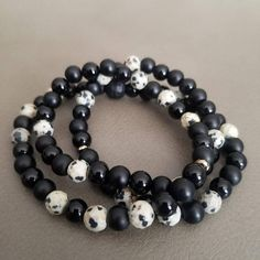 Beaded Stretch Bracelet Black Onyx & Dalmatian Jasper Stretch